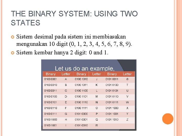THE BINARY SYSTEM: USING TWO STATES Sistem desimal pada sistem ini membiasakan mengunakan 10