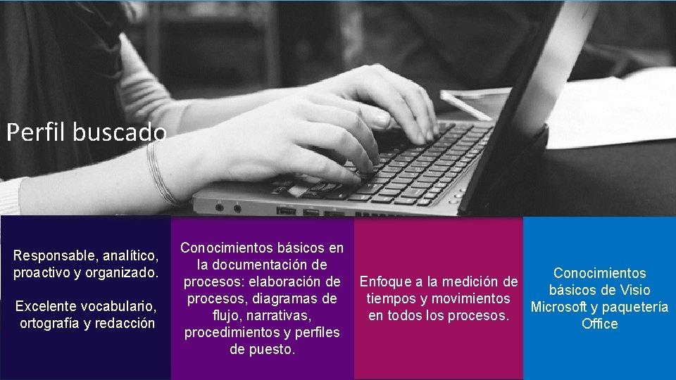 Perfil buscado Responsable, analítico, proactivo y organizado. Excelente vocabulario, ortografía y redacción Conocimientos básicos