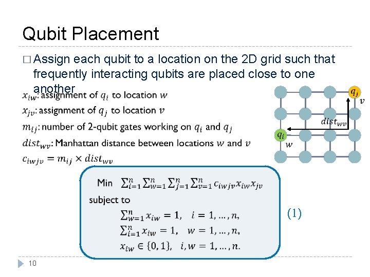 Qubit Placement � Assign each qubit to a location on the 2 D grid