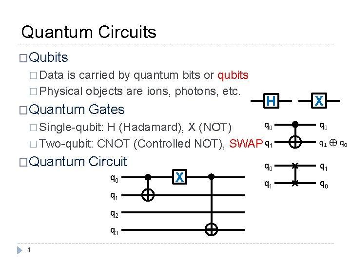 Quantum Circuits �Qubits � Data is carried by quantum bits or qubits � Physical