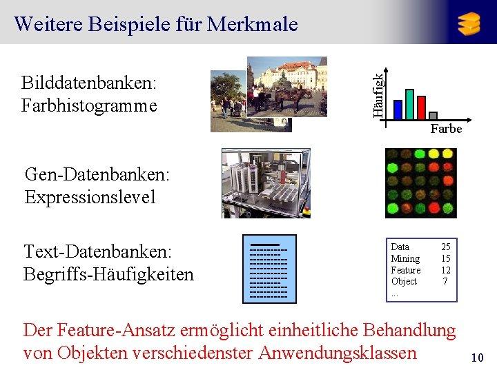 Bilddatenbanken: Farbhistogramme Häufigk Weitere Beispiele für Merkmale Farbe Gen-Datenbanken: Expressionslevel Text-Datenbanken: Begriffs-Häufigkeiten Data Mining
