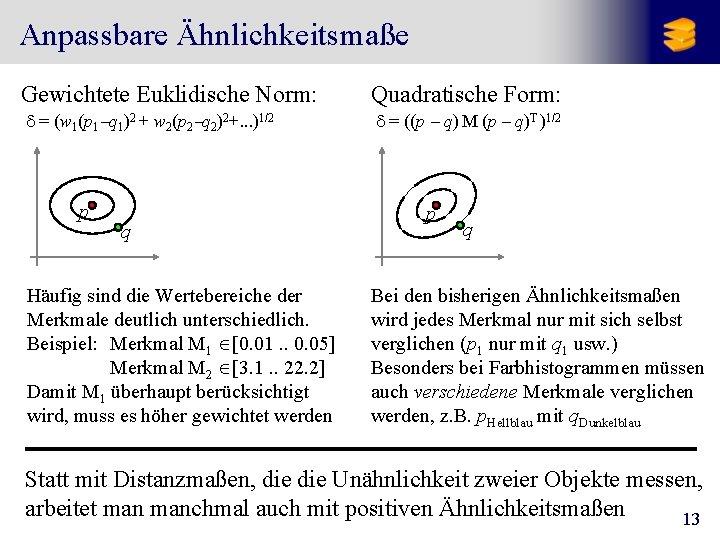 Anpassbare Ähnlichkeitsmaße Gewichtete Euklidische Norm: Quadratische Form: d = (w 1(p 1 -q 1)2