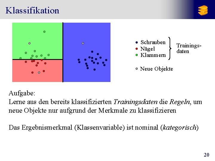 Klassifikation Schrauben Nägel Klammern Trainingsdaten Neue Objekte Aufgabe: Lerne aus den bereits klassifizierten Trainingsdaten
