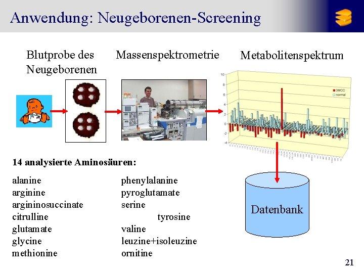 Anwendung: Neugeborenen-Screening Blutprobe des Neugeborenen Massenspektrometrie Metabolitenspektrum 14 analysierte Aminosäuren: alanine argininosuccinate citrulline glutamate