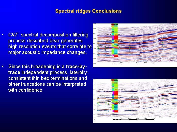 Spectral ridges Conclusions • CWT spectral decomposition filtering process described dear generates high resolution
