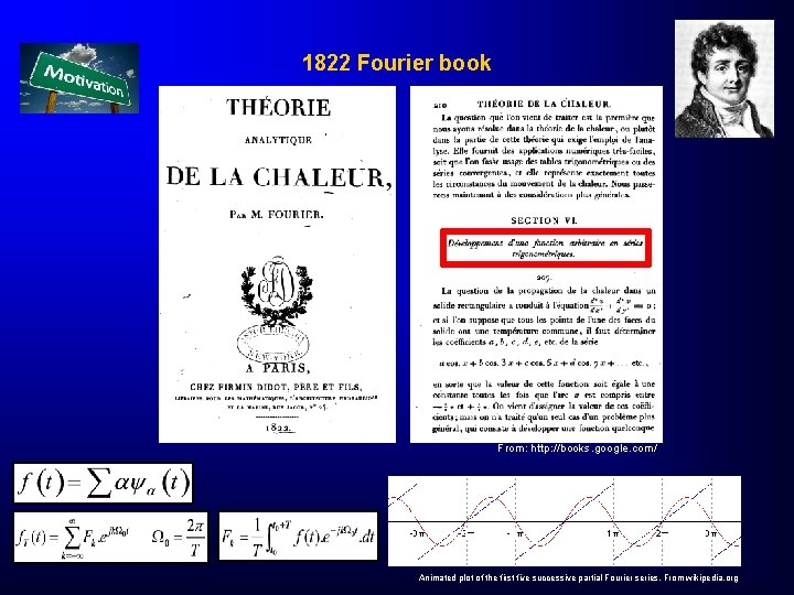 1822 Fourier book From: http: //books. google. com/ Animated plot of the first five