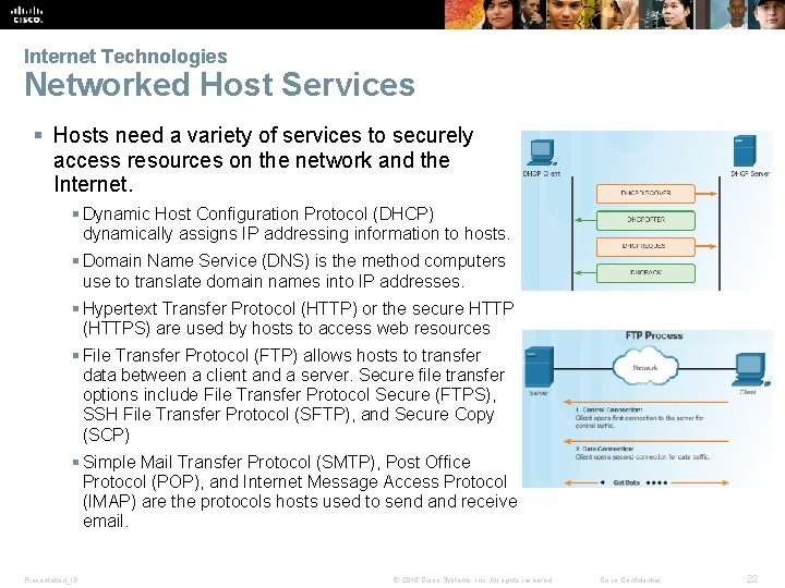 Internet Technologies Networked Host Services § Hosts need a variety of services to securely