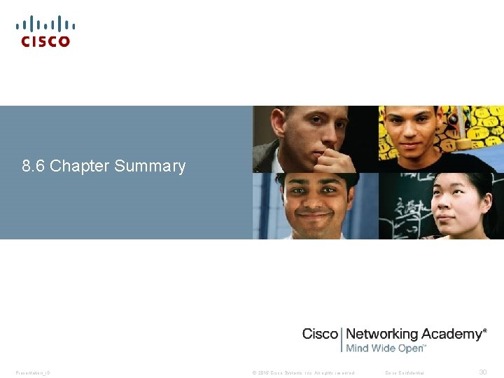 8. 6 Chapter Summary Presentation_ID © 2015 Cisco Systems, Inc. All rights reserved. Cisco