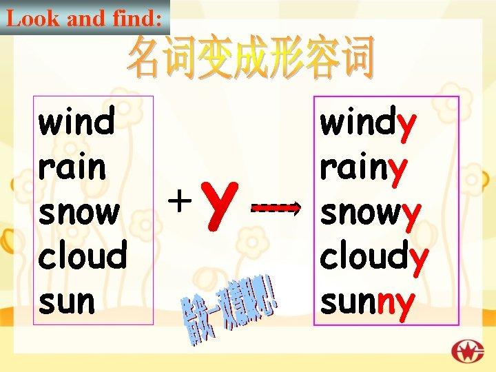 Look and find: wind rain snow + cloud sun windy rainy snowy cloudy sunny