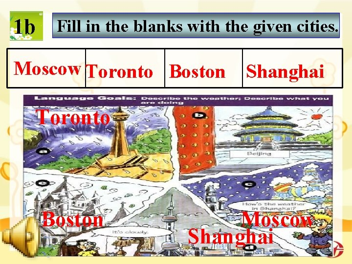 1 b Fill in the blanks with the given cities. Moscow Toronto Boston Shanghai