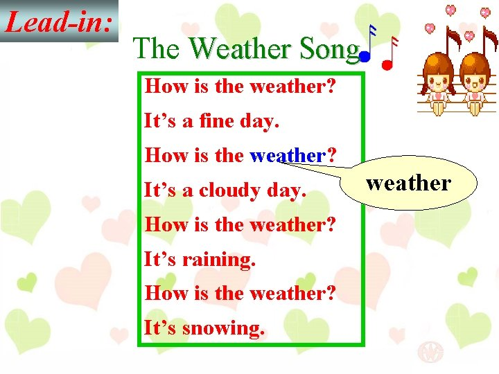 Lead-in: The Weather Song How is the weather? It's a fine day. How is