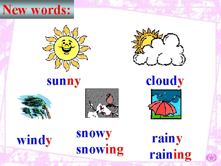 New words: sunny windy snowing cloudy raining