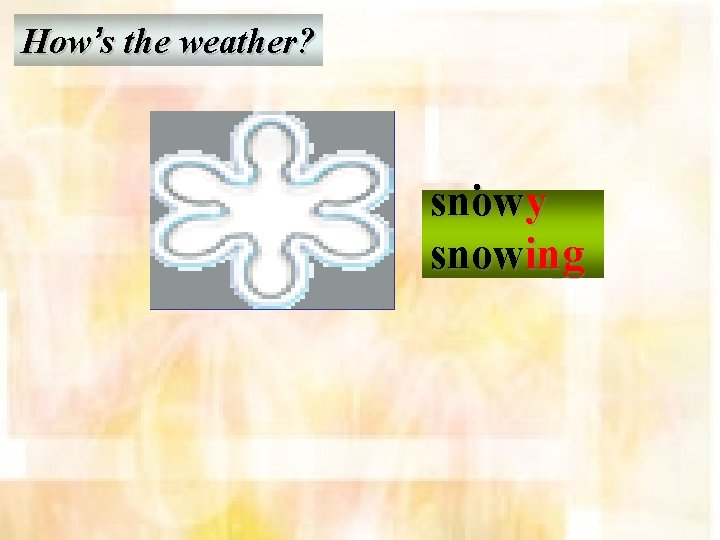 How's the weather? snow rain y y sunnyyy cloud wind raining snow ing