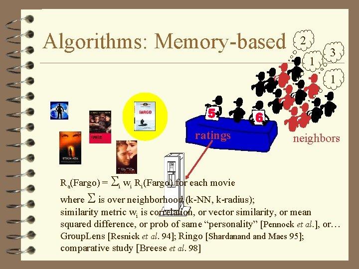 Algorithms: Memory-based 2 1 3 1 ratings Ra(Fargo) = i wi Ri(Fargo) for each