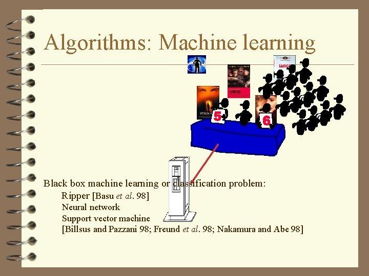 Algorithms: Machine learning Black box machine learning or classification problem: Ripper [Basu et al.