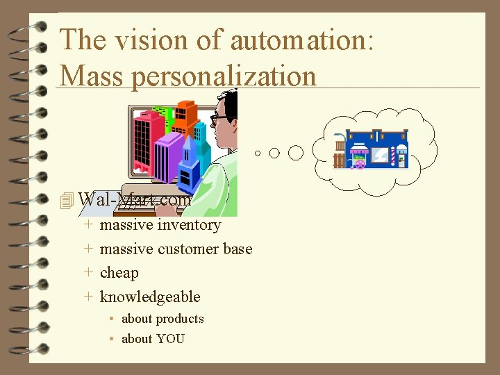 The vision of automation: Mass personalization 4 Wal-Mart. com + massive inventory + massive