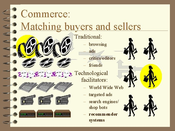 Commerce: Matching buyers and sellers Traditional: – – browsing ads critics/editors friends Technological facilitators: