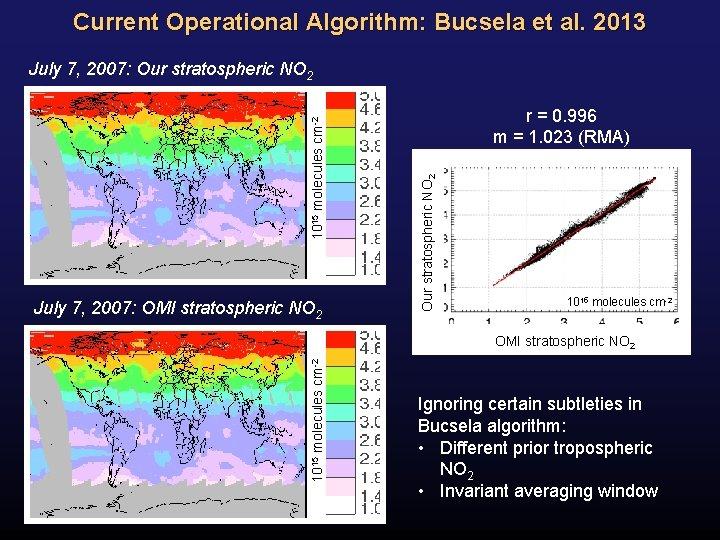 Current Operational Algorithm: Bucsela et al. 2013 July 7, 2007: OMI stratospheric NO 2