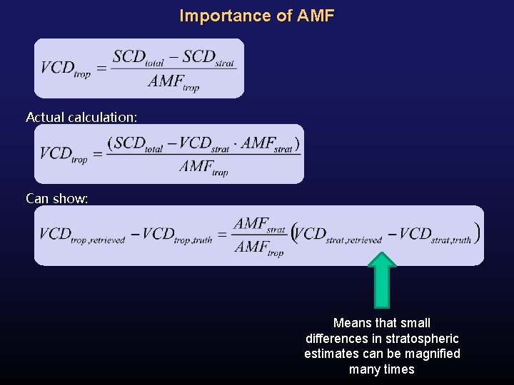 Importance of AMF Actual calculation: Can show: Means that small differences in stratospheric estimates