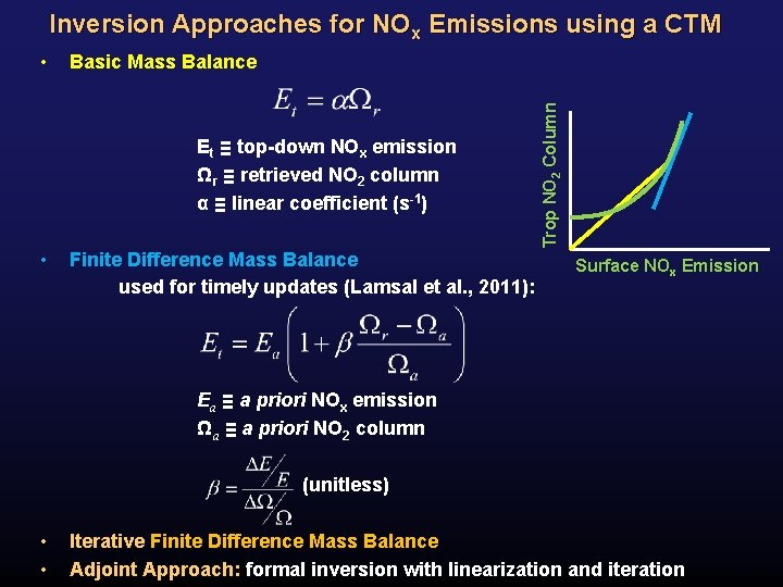 Inversion Approaches for NOx Emissions using a CTM Basic Mass Balance Et ≡ top-down