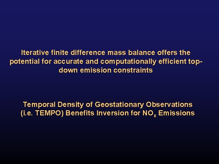 Iterative finite difference mass balance offers the potential for accurate and computationally efficient topdown