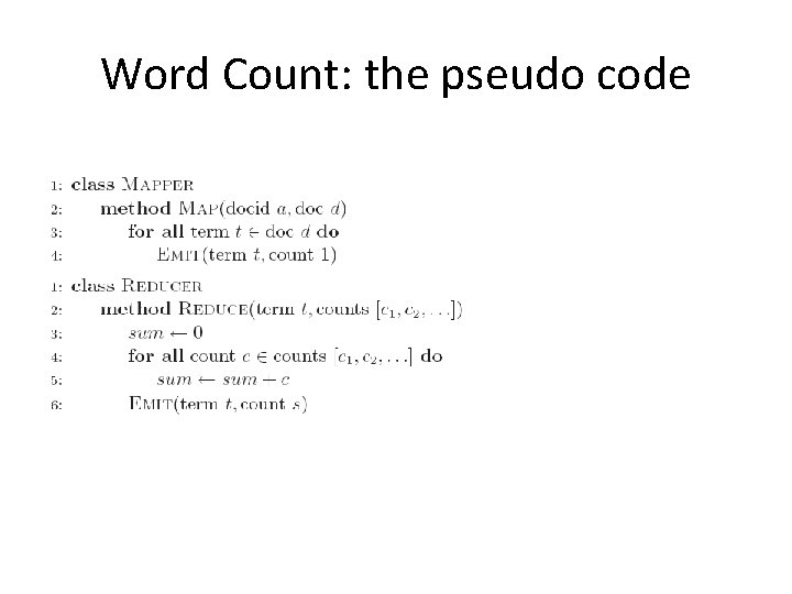 Word Count: the pseudo code