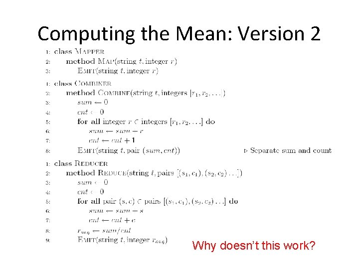Computing the Mean: Version 2 Why doesn't this work?