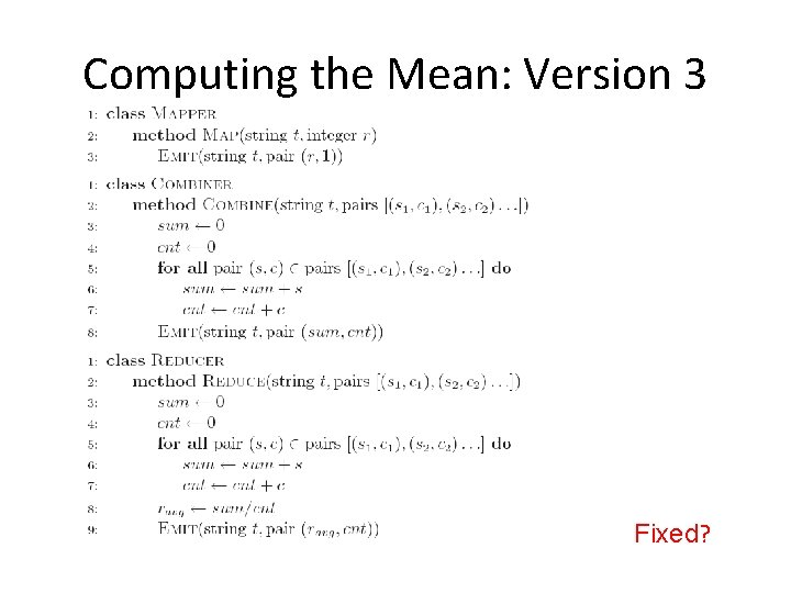 Computing the Mean: Version 3 Fixed?