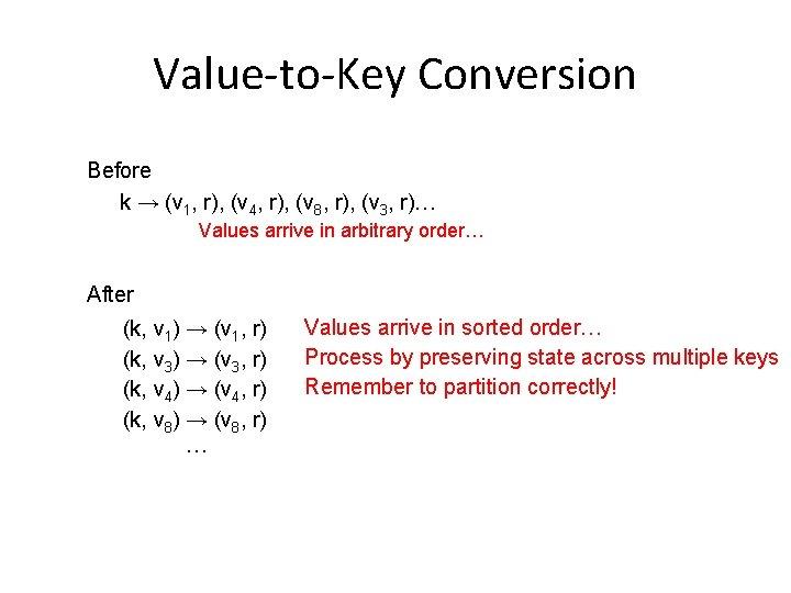 Value-to-Key Conversion Before k → (v 1, r), (v 4, r), (v 8, r),