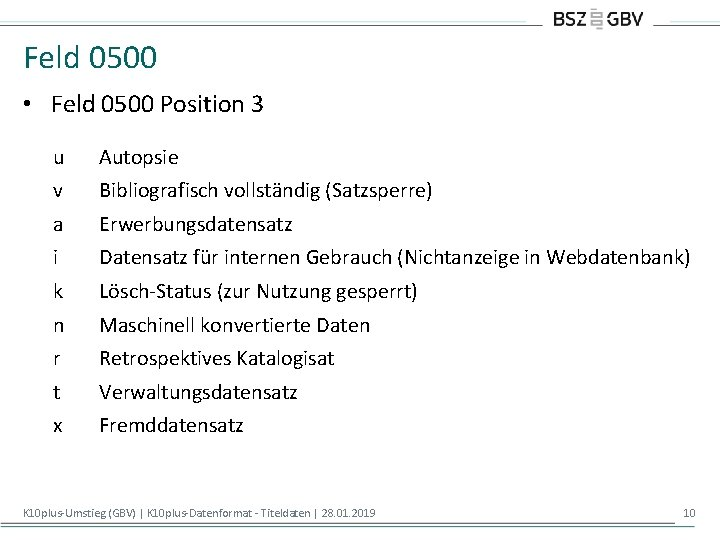 Feld 0500 • Feld 0500 Position 3 u Autopsie v Bibliografisch vollständig (Satzsperre) a