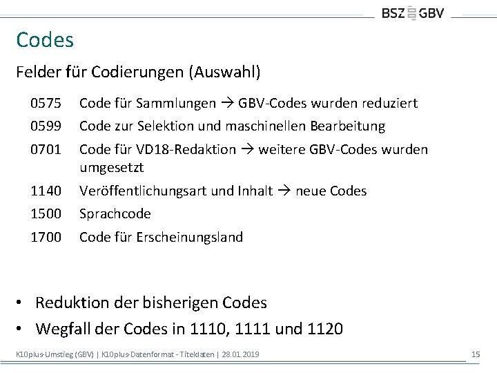 Codes Felder für Codierungen (Auswahl) 0575 Code für Sammlungen GBV-Codes wurden reduziert 0599 Code