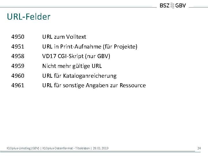 URL-Felder 4950 URL zum Volltext 4951 URL in Print-Aufnahme (für Projekte) 4958 VD 17