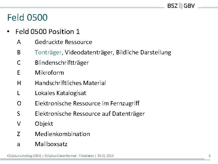 Feld 0500 • Feld 0500 Position 1 A Gedruckte Ressource B Tonträger, Videodatenträger, Bildliche