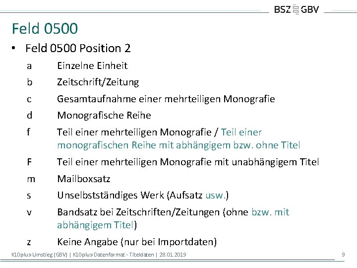 Feld 0500 • Feld 0500 Position 2 a Einzelne Einheit b Zeitschrift/Zeitung c Gesamtaufnahme