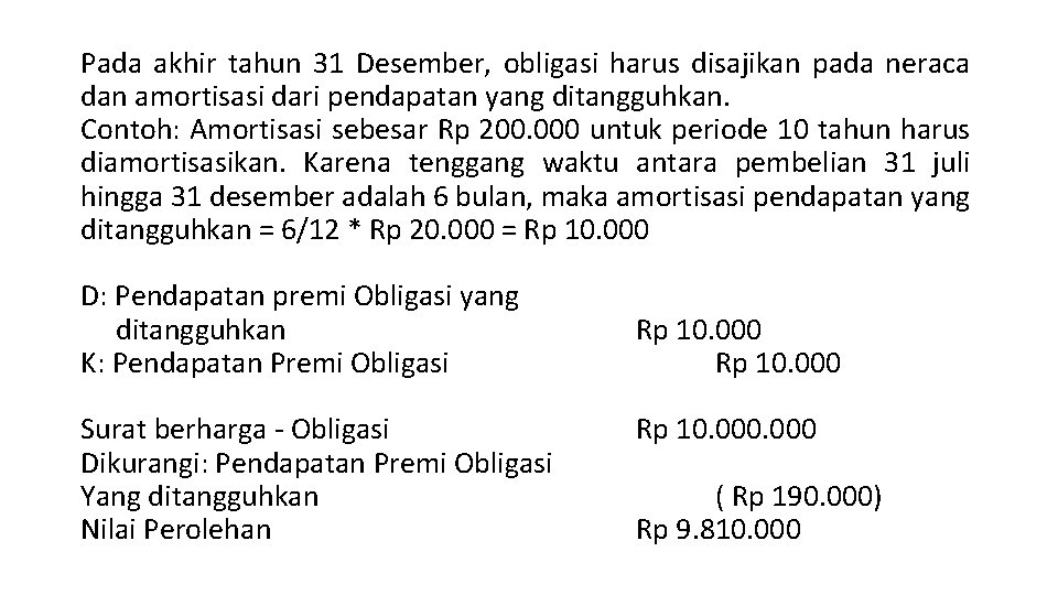 Pada akhir tahun 31 Desember, obligasi harus disajikan pada neraca dan amortisasi dari pendapatan