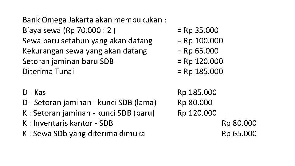 Bank Omega Jakarta akan membukukan : Biaya sewa (Rp 70. 000 : 2 )