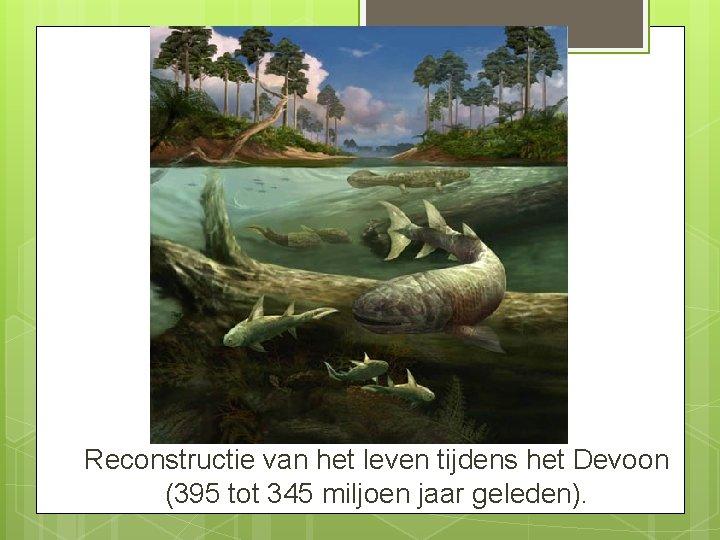 Reconstructie van het leven tijdens het Devoon (395 tot 345 miljoen jaar geleden).
