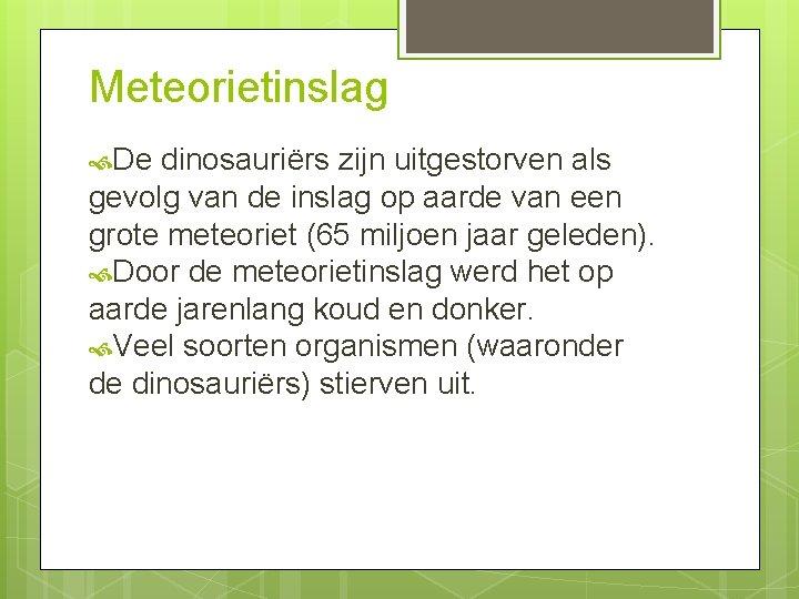 Meteorietinslag De dinosauriërs zijn uitgestorven als gevolg van de inslag op aarde van een