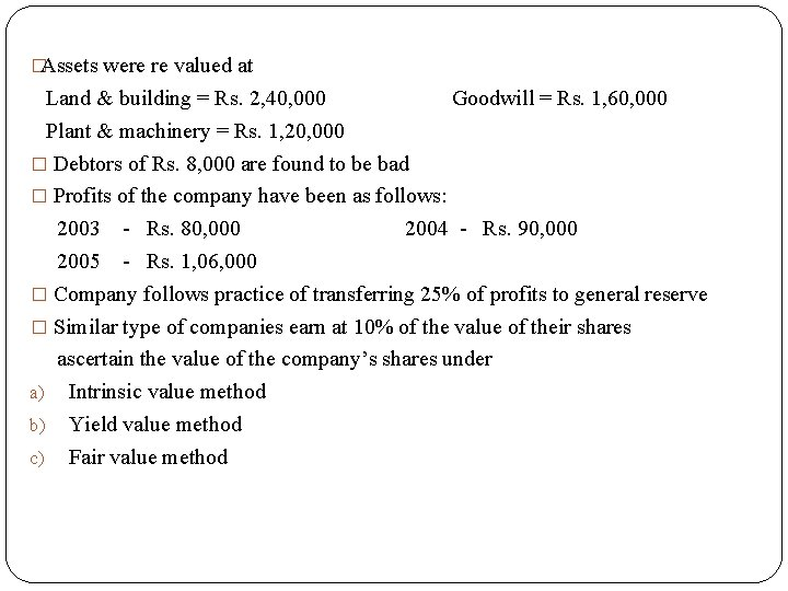 �Assets were re valued at Land & building = Rs. 2, 40, 000 Goodwill