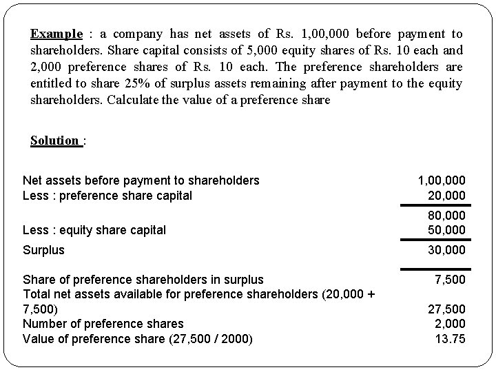 Example : a company has net assets of Rs. 1, 000 before payment to
