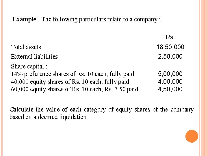 Example : The following particulars relate to a company : Rs. Total assets 18,