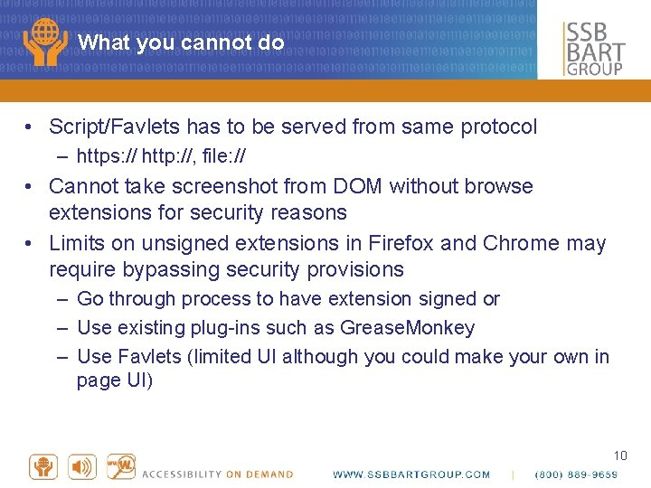 What you cannot do • Script/Favlets has to be served from same protocol –