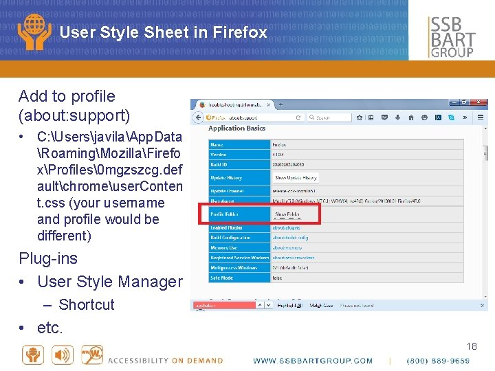 User Style Sheet in Firefox Add to profile (about: support) • C: UsersjavilaApp. Data