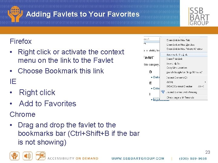 Adding Favlets to Your Favorites Firefox • Right click or activate the context menu