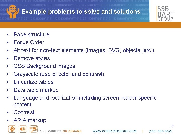 Example problems to solve and solutions • • • Page structure Focus Order Alt