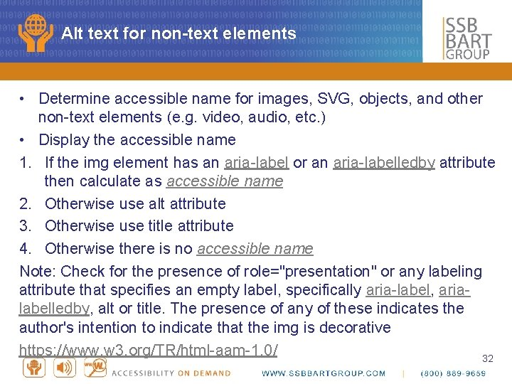 Alt text for non-text elements • Determine accessible name for images, SVG, objects, and