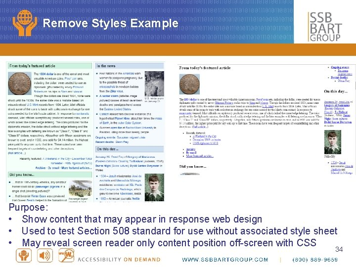 Remove Styles Example Purpose: • Show content that may appear in response web design