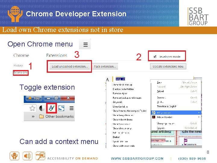 Chrome Developer Extension Load own Chrome extensions not in store Open Chrome menu Toggle