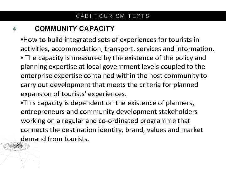 CABI TOURISM TEXTS 4 COMMUNITY CAPACITY • How to build integrated sets of experiences