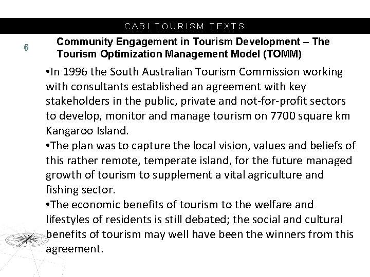 CABI TOURISM TEXTS 6 Community Engagement in Tourism Development – The Tourism Optimization Management